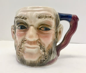 "Vintage 4 3/4"" Toby Sideways Looking Man Mug with Raised Bushy Eyebrows and Mustache - Nature Land Candles"