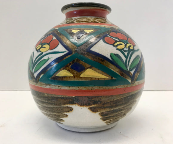Vintage Mid-Century Hand Painted Art Pottery Japanese Vase - Nature Land Candles