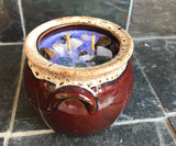 White Tea and Ginger Scented Palm Wax Candle in a Brown Drip Glaze Ceramic Bowl - Nature Land Candles