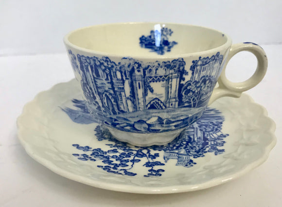 Vintage Taylor Smith & Taylor Blue Castle Teacup and Saucer - Nature Land Candles