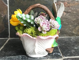 Cermaic Humming Bird Basket Planter with Artificial Green Grass Succulents - Nature Land Candles