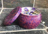 Lilac Scented Soy Aroma Therapy Candle With Healing Stones in a Retro Design Container - Nature Land Candles
