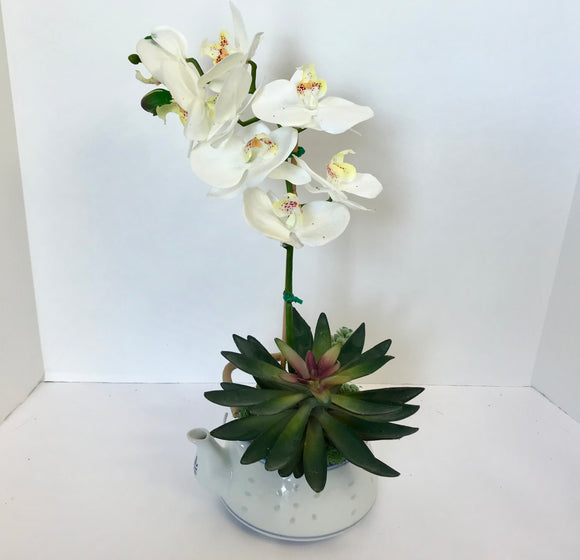 Decorative Planter in Jing De Zhen Translucent Rice Grain Teapot with a White Silk Orchid - Nature Land Candles