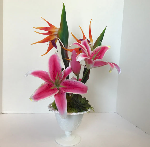 Decorative Planter with Pink and White Lilys and Orange Dragon Flowers in a Milk Glass Vase - Nature Land Candles