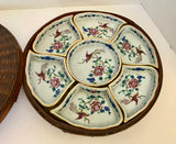 Antique 9 Piece E-OH Nippon Hand Painted Vegetable/Sweet Meat Serving Set with Wicker Basket - Nature Land Candles
