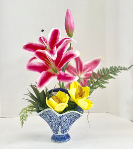Floral Arrangement with Casablanca Lily Silk Flowers in a Blue and White Floral Basket - Nature Land Candles