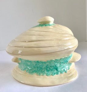 "Vintage 10"" Ceramic Clam Shell Covered Serving Dish - Nature Land Candles"