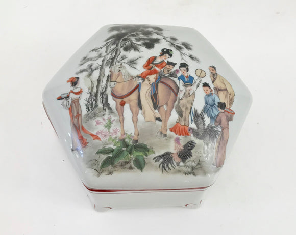 Toyo Geisha Ming Garden Designed By Majic Six Sided  Porcelain Jewelry Box - Nature Land Candles