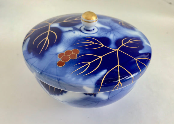 Fukagawa Seiji Arita Cobalt Blue Grapes Decoration Japanese Bone China Rice Bowl - Nature Land Candles