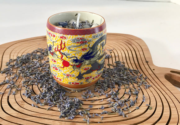 Lavender Scented Soy Candle in Chinese Dragon Teacup with Dried Herbs and Gemstones - Nature Land Candles