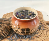 Lavender Scented Soy Candle in Round Ceramic Cottage with Dried Herbs and Gemstones - Nature Land Candles