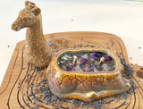 Lavender Scented Soy Candle in Ceramic Giraffe with Dried Herbs and Gemstones - Nature Land Candles
