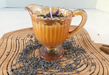 Lavender Scented Soy Candle with Dried Herbs and Gemstones in Amber Iridescent Creamer - Nature Land Candles