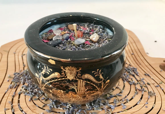 Lavender Scented Soy Candle in Black and Gold Roman Theme Bowl with Dried Herbs and Gemstones - Nature Land Candles