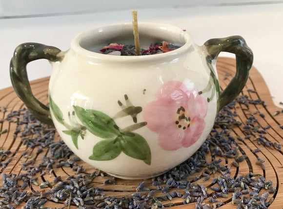 Lavender Scented Soy Candle with Dried Herbs and Gemstones in Porcelain Sugar Bowl - Nature Land Candles