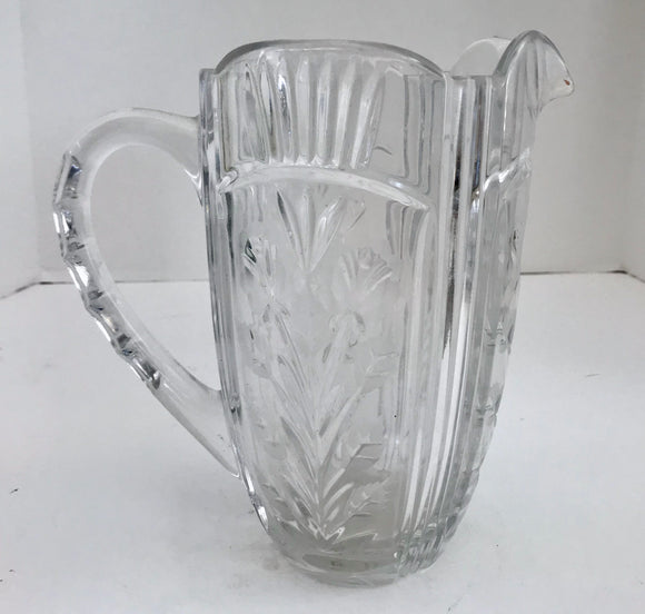 Crystal Club Hand Cut 24% Lead Polish Crystal 48 Oz Pitcher with Frosted Flowers and Cut Vertical Lines - Nature Land Candles