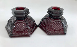 Vintage Avon Ruby Red Cape Cod Candlestick Holders - Nature Land Candles