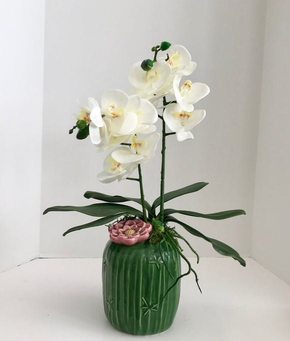 Floral Arrangement in Green Ceramic Vase with White Orchids - Nature Land Candles
