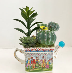 Floral Arrangement with Green Grass Succulents in a Vintage Sadler Teapot - Nature Land Candles