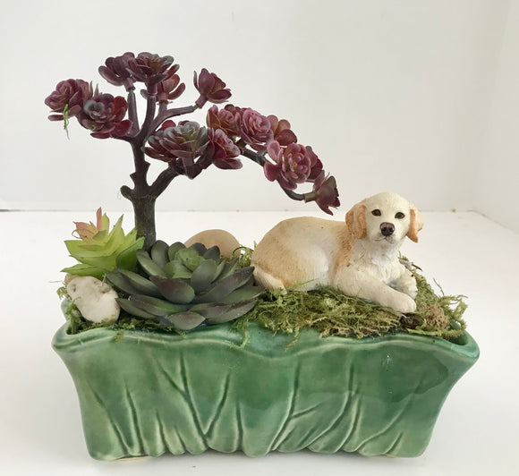 Decortaive Planter Green Grass Suculents and a Dog in a McCoy USA Green Planter - Nature Land Candles