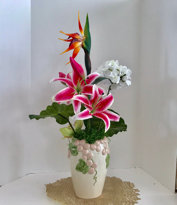 Floral Arrangement with Silk Premium Casablanca Lilys In a Vintage Fitz and Floyd Vase - Nature Land Candles