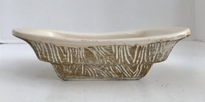 "Vintage McCoy USA Pottery Tonecraft Pattern White and Gold 7 1/4"" Planter - Nature Land Candles"