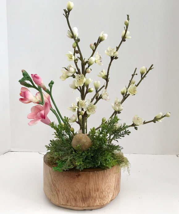 Decorative Bonsai Planter in Round Handcrafted Wood Planter with White Cherry Blossoms and Pink Flowers - Nature Land Candles