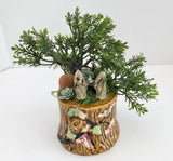 Bonsai Planter with Artificial Bonsai Tree and Chinese Mudmen in a Japanese Ceramic Tree Trunk - Nature Land Candles