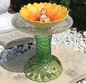 Repurposed Garden Ceramic and Glass Bottle Art with Sunflower Bowl and Puppy - Nature Land Candles