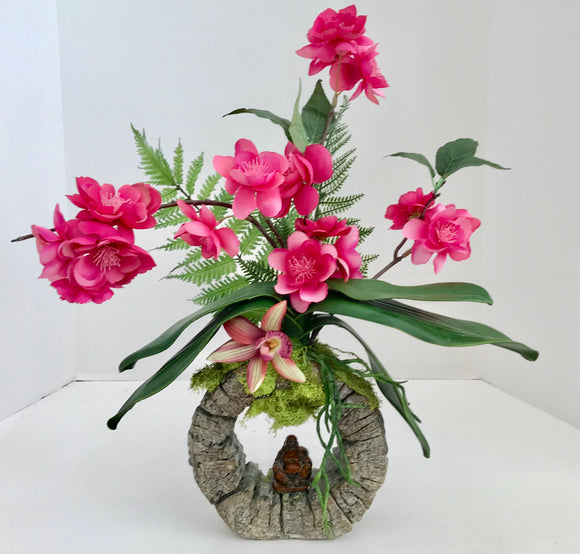 Decorative Bonsai Planter in Unique Round Stone Vase with Purple Flowers and Budha - Nature Land Candles