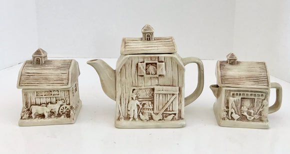 Vintage Ceramic 6 Piece Barn Tea Set With 2-3 Cup Teapot - Nature Land Candles
