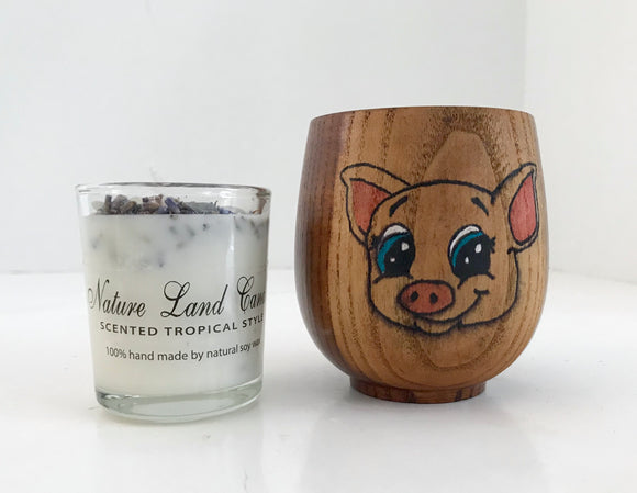 Bamboo Cup with Wood burned Colored Pig and 100% Soy Votive Candle - Nature Land Candles