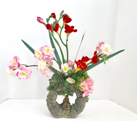 Decorative Bonsai Planter in Unique Round Stone Vase with Pink and Red Flowers with Chinese Man - Nature Land Candles