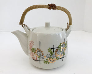 Vintage Japanese Floral 2 Cup Teapot with Wicker Handle - Nature Land Candles