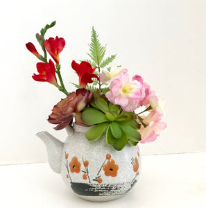 Decorative Planter in Ceramic Floral Teapot with Green Grass Succulents - Nature Land Candles