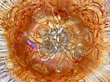"Vintage Imperial Glass 11"" Peach Iridescent Glass Lustre Rose Footed Bowl - Nature Land Candles"