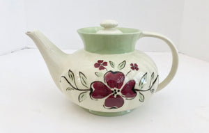Porcelier Vitreous China Cream and Light Green with Purple Violet Flowers 5 Cup Teapot - Nature Land Candles