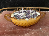 Lavender Scented Soy Candle in Amber Hobnail Glass Bowl with Dried Herbs and Gem Healing Stones - Nature Land Candles