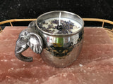 Lavender Scented Soy Candle in Unique Polished Silver Cooper Mug with Elephant Head Handle - Nature Land Candles
