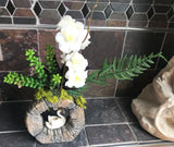 Decorative Bonsai Planter in Unique Round Stone Vase with Pink and White Flowers with Swan - Nature Land Candles