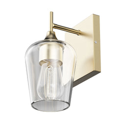 Clear Glass Shade Vanity Lights Fixture, Bell Shape with Brass Gold Finish, E26 Base, UL Listed for Damp Location, 3 Years Warranty