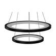 Load image into Gallery viewer, 2-Ring LED Chandelier - 61W - 3000K-6500K - 2241LM - Dimmable - Matte black Body Finish - Diameter 34.9''×0.4''×71''