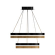 Load image into Gallery viewer, Double Circle Chandelier, 78W, 3000K, 1501 Lumens, Wooden + Matte Black Chandelier, Dimmable Pendant Fixture