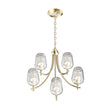 Load image into Gallery viewer, 5-Lights Chandelier Light - Brass Gold Finish with Clear Glass Shades, E26 Socket, UL Listed for Damp Location, 3 Years Warranty