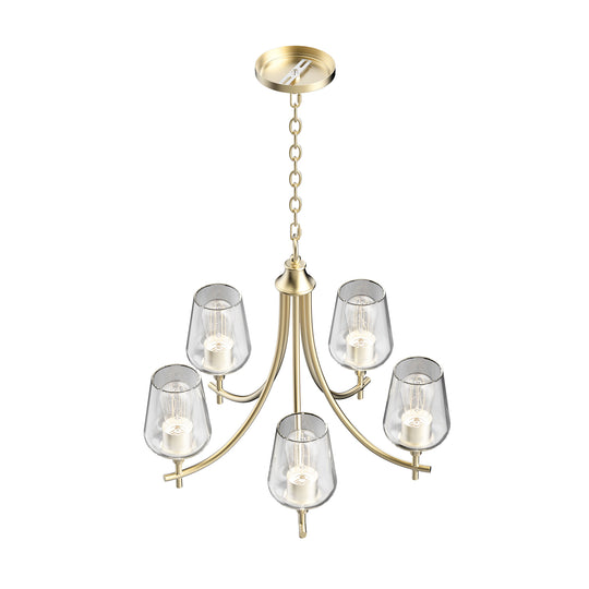 5-Lights Chandelier Light - Brass Gold Finish with Clear Glass Shades, E26 Socket, UL Listed for Damp Location, 3 Years Warranty