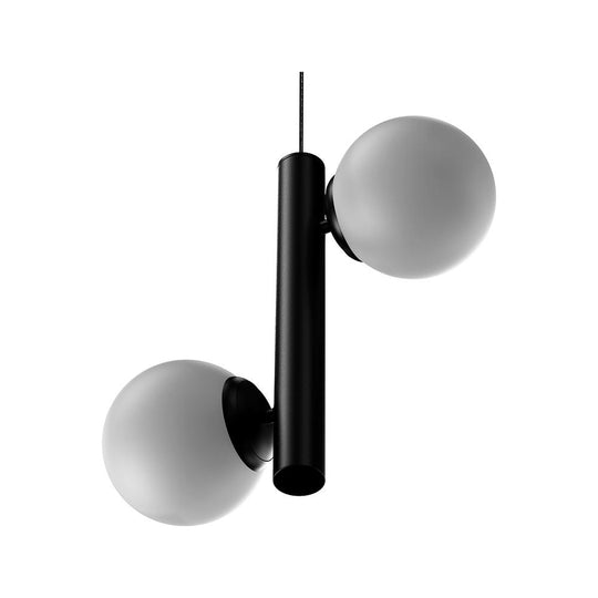 2-Lights, Globe Pendant Chandelier, 17W, 3000K, Matte Black Body Finish, Dimmable