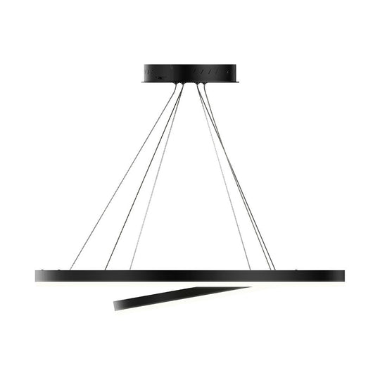 3-Ring LED Light Circular Chandelier - 102W - 3000K - 4335LM - Matte Black Body Finish - Dimmable - Pendant Mounting