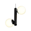 Load image into Gallery viewer, 2-Lights, Globe Pendant Chandelier, 17W, 3000K, Matte Black Body Finish, Dimmable