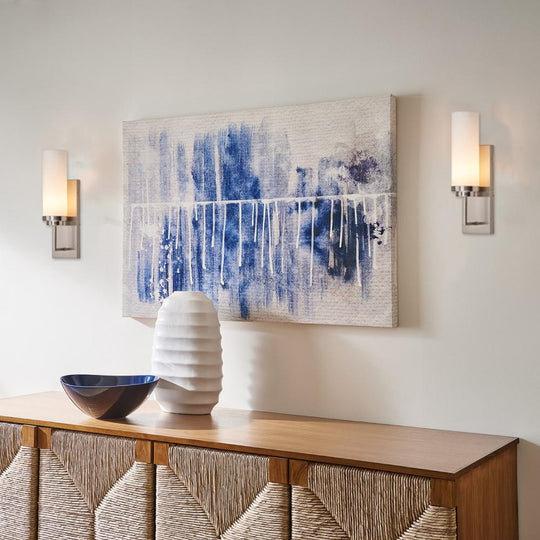 1-Light Wall Sconce Lighting Fixture, Brushed Nickel with Opal Glass Shade, Cylinder Shape