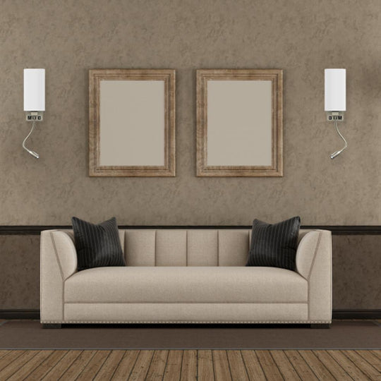 1-Light Modern Bedside Wall Sconce Light with One LED Reading Swing Arm Wall Light, 1 USB + 1 Switch + 1 Outlet, Brushed Nickel Finish, White Acrylic Shade